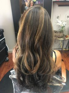 Long dark hair after coloring back picture